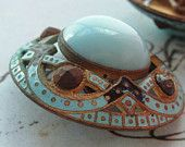 Antique French Enamel, Pierced Open Work, Glass and Cut Steel Button