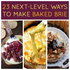 23 Next-Level Ways To Make Baked Brie. I've always just done brie baked in puff pastry. Plain but perfect. May try one or two of these variations Fromage Cheese, Tasty, Yummy Food, Yummy Eats, Baked Brie, Mets, Lunch Snacks, Appetizer Recipes, Brie Appetizer