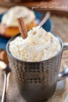 The incredible flavors of cinnamon, nutmeg, and cardamom spice up this wonderfully creamy and rich Slow Cooker Spiced White Hot Chocolate.