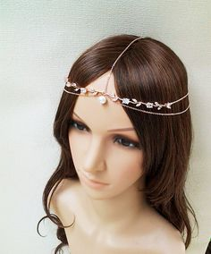 Rose Gold Head Chain Headpiece pink gold Hair Jewelry hair comb