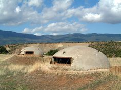 Bunkers in Albania built during Hoxha's rule to avert possible external invasion. Over 700,000 were built.