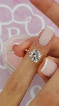 Cute Engagement Rings, Engagement Rings Cushion, Halo Diamond Engagement Ring, Cushion Cut Rings, Different Engagement Rings, Most Beautiful Engagement Rings, Cushion Cut Diamond Ring, Rose Gold Diamond Ring, Engagement Ideas