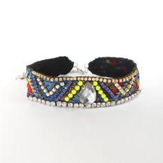 Bohemia Collar Gargantilla 90 Gargantilla Declaración de la moda retro Gargantilla Gargantilla Boho moderna bohemia de neón de cinta tribal