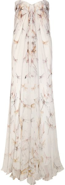 ALEXANDER MCQUEEN  Dragonfly print Silk chiffon Gown - Lyst