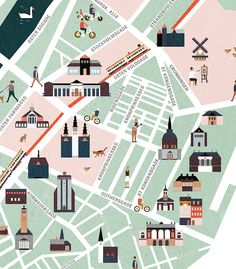 Map illustration of the city center of Copenhagen, Denmark. Inspired by old city maps from Plan Ville, Marathon Posters, Map Projects, Map Design, Design Ideas, Travel Illustration, Poster S, City Maps, Poster
