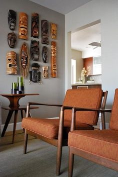 -MASK WALL GROUPING- Folke Ohlsson DUX Chair and tiki masks