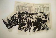 """""""Rhino"""", litografía impresa a mano y collage, 2007"""
