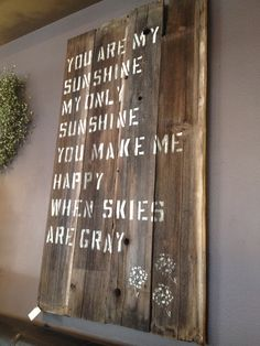 sign ideas with old barnwood | Recycled wood sign -great use for barn wood, old fence pickets, pallet ...