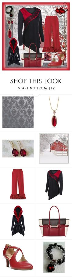 """Red & Black for the Holidays"" by aurorasblueheaven ❤ liked on Polyvore featuring Tempaper, Carolee, Pottery Barn, Fiorelli and Naturalizer"
