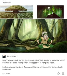 I can't believe it took me this long to realize that Toph wanted to spend the last of her life in the same swamp where she appeared to Aang in a vision. I will never understand why Taang and Zutara. Avatar The Last Airbender Funny, The Last Avatar, Avatar Funny, Avatar Airbender, Korra Avatar, Team Avatar, Atla Memes, Avatar Series, Evil Twin