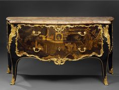 Pierre Macret (1727 - 1796) ,A Louis XV ormolu-mounted black lacquer commode with Chinese lacquer panels