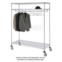 Coat & Luggage Racks   Coat Racks-Freestanding   3-Shelf Garment Floor Rack With 24 Hangers   184452 - GlobalIndustrial.com