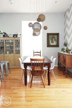Beautiful dining room and house tour of the Gold Jellybean - love the walls!