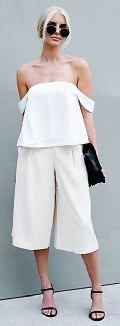 #spring #summer #street #style #outfitideas | Monochrome Off The Shoulder