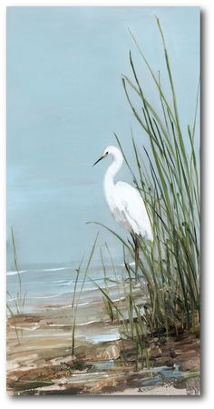 Highland Dunes 'White Egret' Graphic Art Print on Wrapped Canvas White Egret, Coastal Art, Beach Scenes, Beach Art, Pictures To Paint, Artist Canvas, Bird Art, Painting Prints, Canvas Art Prints