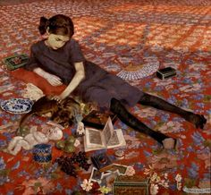 Girl on a Red Carpet, Felice Casorati, 1912. Casorati (1883-1963) was an Italian painter, sculptor, and printmaker. The paintings for which he is most noted include figure compositions, portraits and still lifes, which are often distinguished by unusual perspective effects.