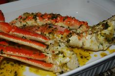 Sautéed garlic, 1 stick of butter and a 1/4 cup of olive oil. Added Italian seasoning. Simmered and tossed crab.