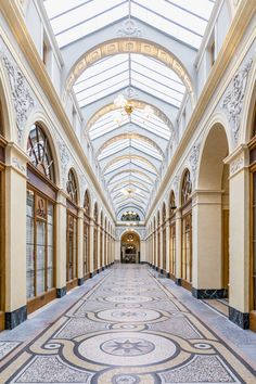 The symmetry, beautiful floor and high ceiling of Galerie Vivienne. Classic Architecture, Interior Architecture, Interior Design, Galerie Vivienne, Paris In Spring, Paris Wall Art, Great Photos, Parisian, Fine Art Prints