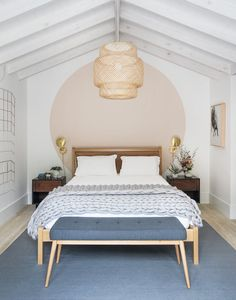 my scandinavian home: Pink / Blush circle painted on the wall of the bedroom in a Dreamy Scandi Inspired Beach House - photo Mathew Williams design Jessica Helgerson.