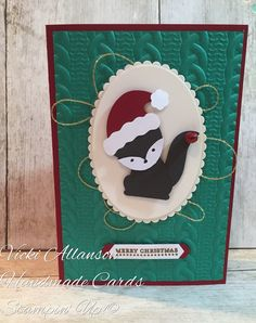 A foxy Christmas Foxy friends builder punch. Jolly hat punch cable knit embossing folder Stampin Up