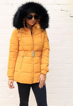 Piper Quilted Longline Hooded Puffer Coat with Faux Fur Trim & Belt in Mustard - One Nation Clothing Puffer Coat With Fur, Puffer Jackets, Winter Jackets, Winter Warmers, Keep Warm, Long A Line, Fur Trim, Mustard Yellow, Online Boutiques