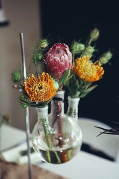 Chemistry inspired science wedding table centerpiece idea