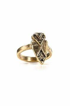 House of Harlow 1960 Hematite Pave Arrowhead Ring - $50.15