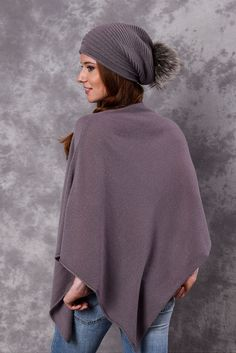 Poncho - Dress Topper - MAUVE - product images of Poncho Dress, Cashmere Poncho, Mauve, Winter Hats, Turtle Neck, Classic, Sweaters, Collection, Dresses