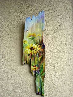 Recycle pieces of wood (picture Wood Pallet Art, Reclaimed Wood Art, Pallet Painting, Tole Painting, Painting On Wood, Painted Driftwood, Driftwood Art, Art Mural Palette, Fence Art
