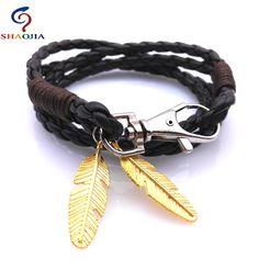 Leather Leather Bracelet Men Brand Wholesale Bracelets & Bangles Charm Gold Feather Bracelet Man Bracelets for Women Jewelry