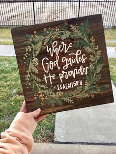 "12x12 Isaiah 58:11 // Hand Painted Wooden Sign // ""Where God guides He provides"" by ArtByKalan on Etsy https://www.etsy.com/listing/505287355/12x12-isaiah-5811-hand-painted-wooden"