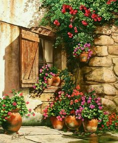 ✿Flowers at the window & door✿ 'Garden In Bloom' ~ Victor Arriola Pictures To Paint, Art Pictures, Watercolour Painting, Painting & Drawing, Watercolors, Belle Image Nature, Images D'art, Decoupage, Beautiful Paintings