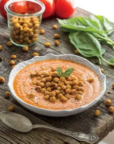 Vegan Cream of Tomato Soup With Roasted Italian Chickpea Croutons from The Oh She Glows Cookbook - recipe included