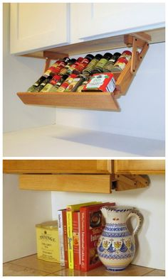 Under cabinet mounted spice rack.