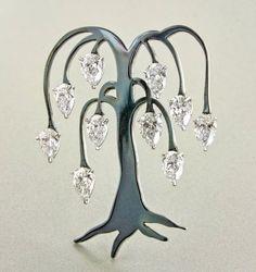 "Steel, platinum and diamonds ""Willow Tree brooch. #sothebysdiamondsbyjamesdegivenchy #taffin #jamesdegivenchy #jamestaffindegivenchy…"