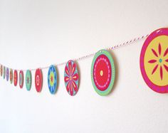 Colourful Flower Bunting - 2.25 m long with 18 flowers @Caris Baker colour flower, flower bunt, etsi find, 1200, 225, 18 flower, buntings, flowers, baker
