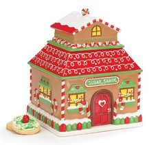 Whimsical Gingerbread House Cookie Jar Sugar Shack Christmas/Holiday Kitchen Decor