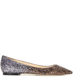 Romy bronze-tone and dark silver-tone glitter ballerinas