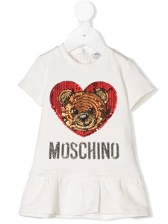 4fe6343e9 Moschino Kids Sequinned Heart Teddy Logo Dress - Farfetch