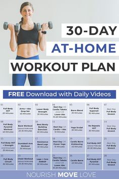Arms, abs, legs and back -- this FREE full body workout plan focuses on building strength in all the major muscle groups! This workout plan requires just 30 minutes a day and a set of dumbbells -- CPT Lindsey Bomgren will coach you through each exercise in a daily instructional video! 30 Day Workout Plan, Full Body Workout Plan, Free Workout Plans, Weekly Workout Plans, Mommy Workout, Workout Plan For Women, Workout Challenge, Workout Tips, Workout Videos
