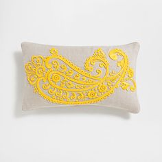 Image of the product Yellow raised embroidery linen cushion cover