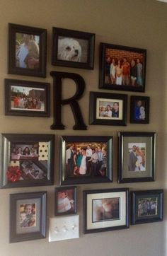 Create a photo collage wall using frames from Goodwill, painted to match! All frames $2.99 or less.