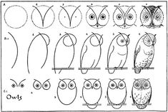 Draw an owl | Free printable from vintage book Blogged @ www… | Flickr