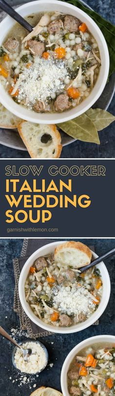 Any chicken noodle soup lovers out there? Then this Slow Cooker Italian Wedding Soup is for you. The addition of mini-meatballs and pearl (or Israeli) couscous gives a new twist to a familiar, comforting soup that is chock full of the usual suspects like chicken, celery and carrots. #slowcooker #crockpot #soups #chicken