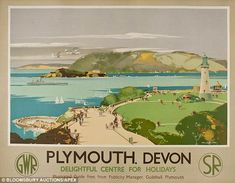 Plymouth, Devon. Delightful centre for holidays. GWR. Southern Railways.    Showing the Hoe and the recently reopened Tinside pool.