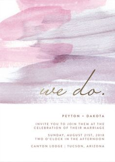 """We Do""! Lilac and lavender color themed wedding invitation with brushstroke watercolor detail from Minted."