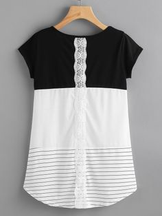 To find out about the Contrast Panel Lace Applique Striped Tee at SHEIN, part of our latest T-Shirts ready to shop online today! Diy Clothing, Sewing Clothes, Dresses For Teens, Simple Dresses, Umgestaltete Shirts, Bon Look, Casual Outfits, Cute Outfits, Stitch Fix Outfits