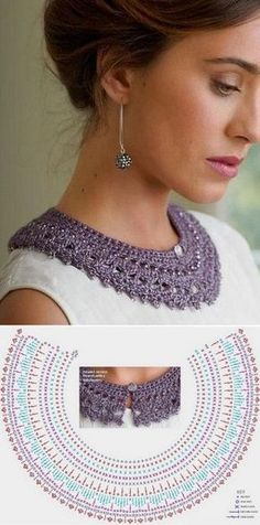 Crochet Patterns Scarves How to tie a collar crochet Col Crochet, Crochet Lace Collar, Crochet Amigurumi, Crochet Blouse, Crochet Scarves, Crochet Motif, Crochet Shawl, Crochet Designs, Crochet Clothes