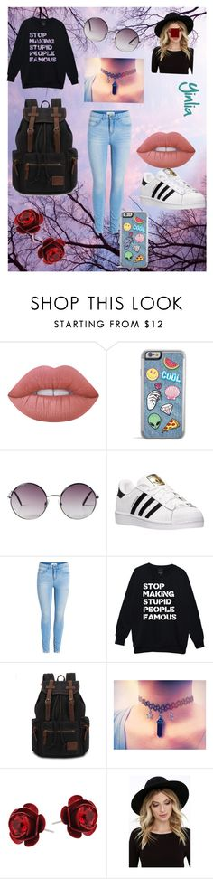 """""""Girly/Tumblr Expansion pack"""" by except ❤ liked on Polyvore featuring Lime Crime, Monki, adidas, Michal Negrin and RHYTHM"""