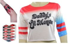 Harley Quinn T-shirt Daddy's Lil Monster Shirt Costume with Arm Tattoo (S)